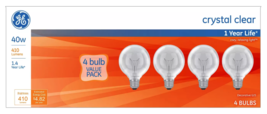 Lot of 12x General Electric 40w G25 Incandescent Light Bulbs Crystal Clear image 2