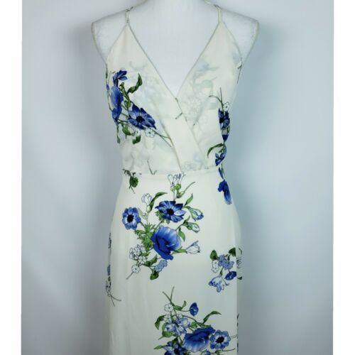 Lush Women Surplice Maxi Floral Spaghetti Strap Dress White Blue Size Small NEW