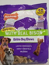 Nylabone Dog Chew Grain Free Edible With Real Bison Highly Digestible No Corn No