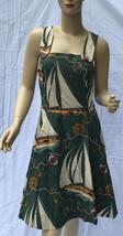 Ralph Lauren Nautical Dress Womens 6 Green Beige Red Cotton Lined - $135.56