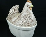 Treasure Craft Covered Casserole Fluted Chicken Hen Lid Ivory Graniteware 2 Qt.