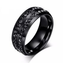 Black Crystal Titanium Promise Ring Wedding Band for Men Bridal Engageme... - $34.98