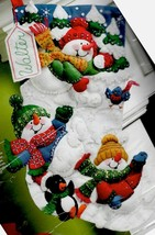 Bucilla Snow Fun Snowman Penguin Ball Fight Christmas Felt Stocking Kit ... - $37.95
