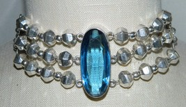 VTG Mexican .925 Sterling Silver Heavy Large Faceted Blue Glass Choker N... - $494.99