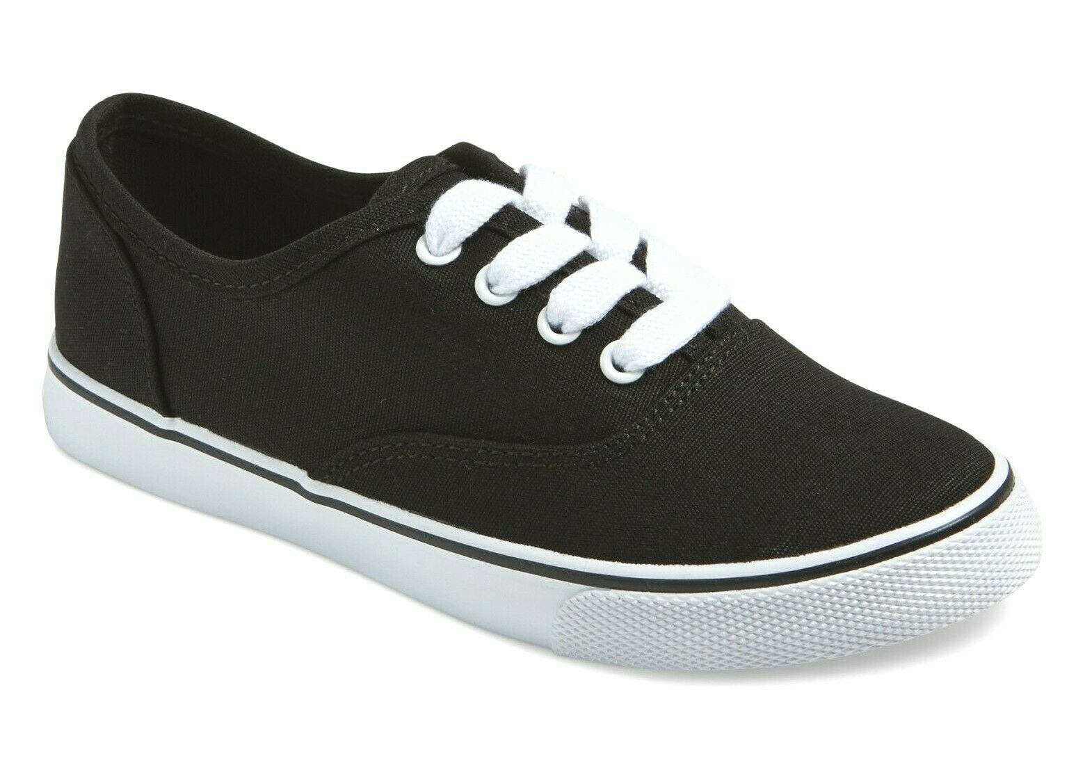 Cat & Jack Girls' Larina Black Canvas & White Lace Up Shoes Sneakers NWT