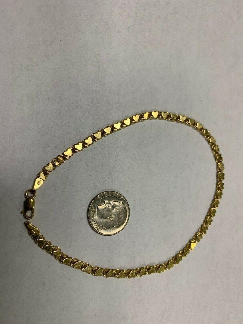 "Real Genuine 14K Solid Yellow Gold 9.5"" Heart Link Bracelet /Anklet 5.5G"