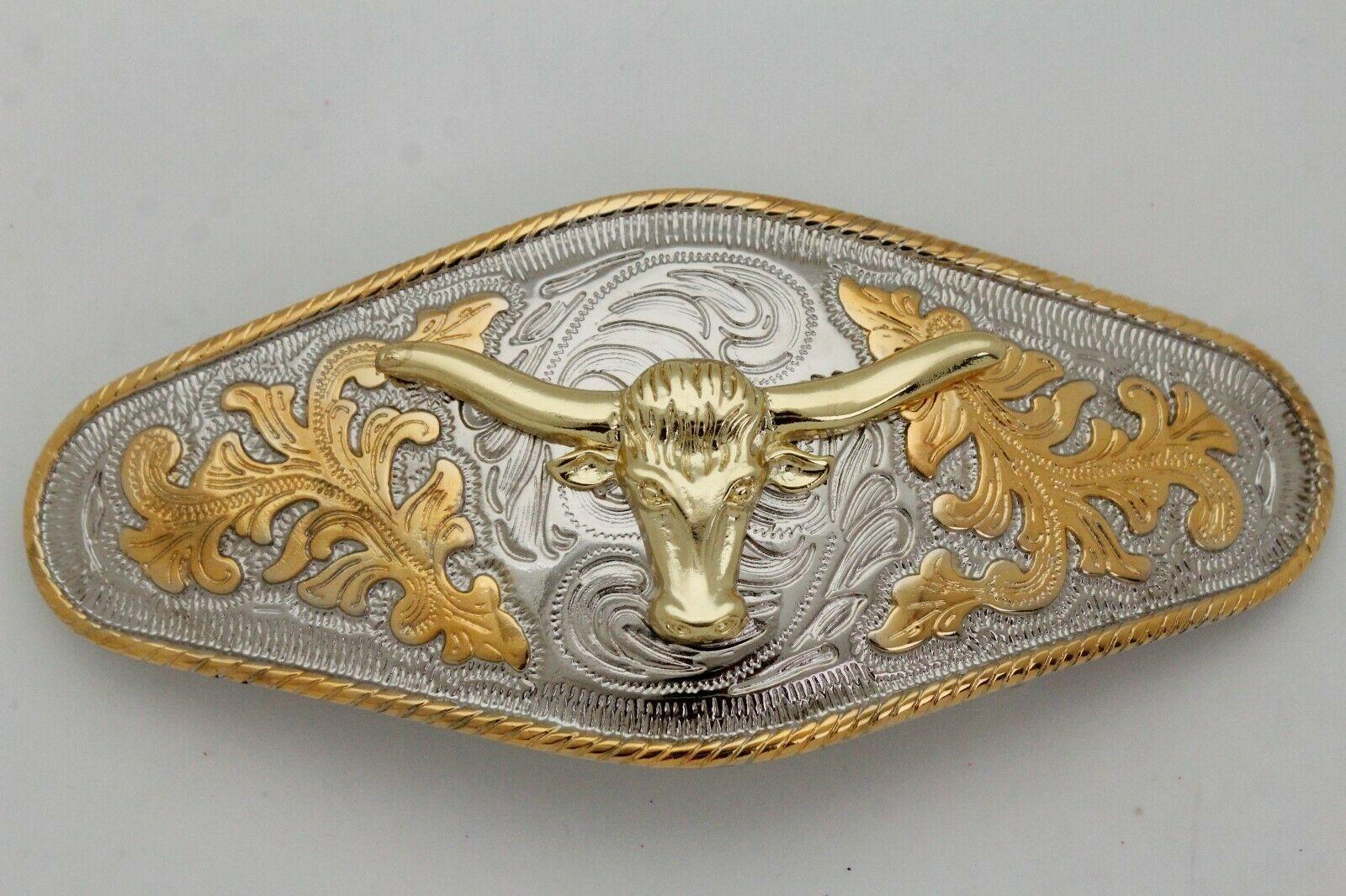 Hombre Western Cowboys Cinturón Hebilla Metal Plata Rodeo Largo Oro Texas Cuerno image 8
