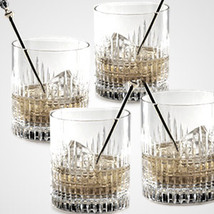 """FABERGE ACHED """"CROWN"""" DOUBLE OLD FASHIONED SET/4 LEAD CRYSTAL MADE IN RUSSIA NEW - $1,999.35"""