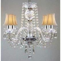 Murano Venetian Style All Crystal Chandelier W/Shades W/Chrome Sleeves! - $110.73
