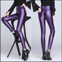 Purple Stretch Faux Leather High Waisted Button Up Skinny Pencil Trousers image 2