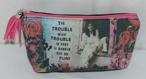 GANZ Brand The Trouble With Trouble Lady In White Print Makeup Bag