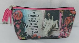 GANZ Brand The Trouble With Trouble Lady In White Print Makeup Bag image 1