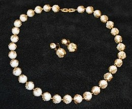 CROWN TRIFARI White Lucite Bead Gold Tone Leaf Grecian Necklace Earring Set - $99.00