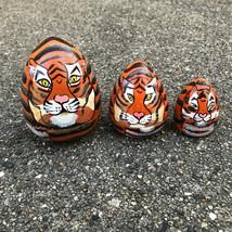 "Hand Painted Tiger Nesting Dolls - Set of 3, Bengal Cub - 3.75"" Egg Shape - $9.67"