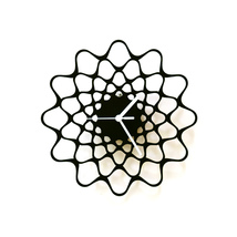 Contemporary modern wall clock laser cut from birch plywood - Embroidery - $89.00