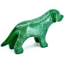 Vaneal Group Hand Carved Kisii Soapstone Green Standing Puppy Dog Figurine Kenya image 4