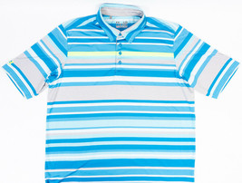 Under Armour Heat Gear Loose Mens Polo Shirt Multicolor Stripes Size L - $23.49