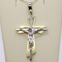 PENDENTIF DOUBLE CROIX OR JAUNE BLANC 750 18K,AVEC LE CHRIST,BRILLANTE image 4