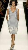 Oscar De La Renta Stunning Exclus. Embrodery Bead Silk Runway Dress Us 12 - $595.00
