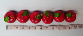 """Red Apple Ornaments 1.3/4"""" Tall Plastic Lot of 6 Apples - $8.42"""