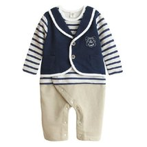 Cute Navy School Suit Baby Toddler Infant Onesies Romper Bodysuit Long Sleeves