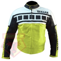 YAMAHA 6728 FLUORESCENT MOTORBIKE MOTORCYCLE ARMOURED COWHIDE LEATHER JA... - $194.99