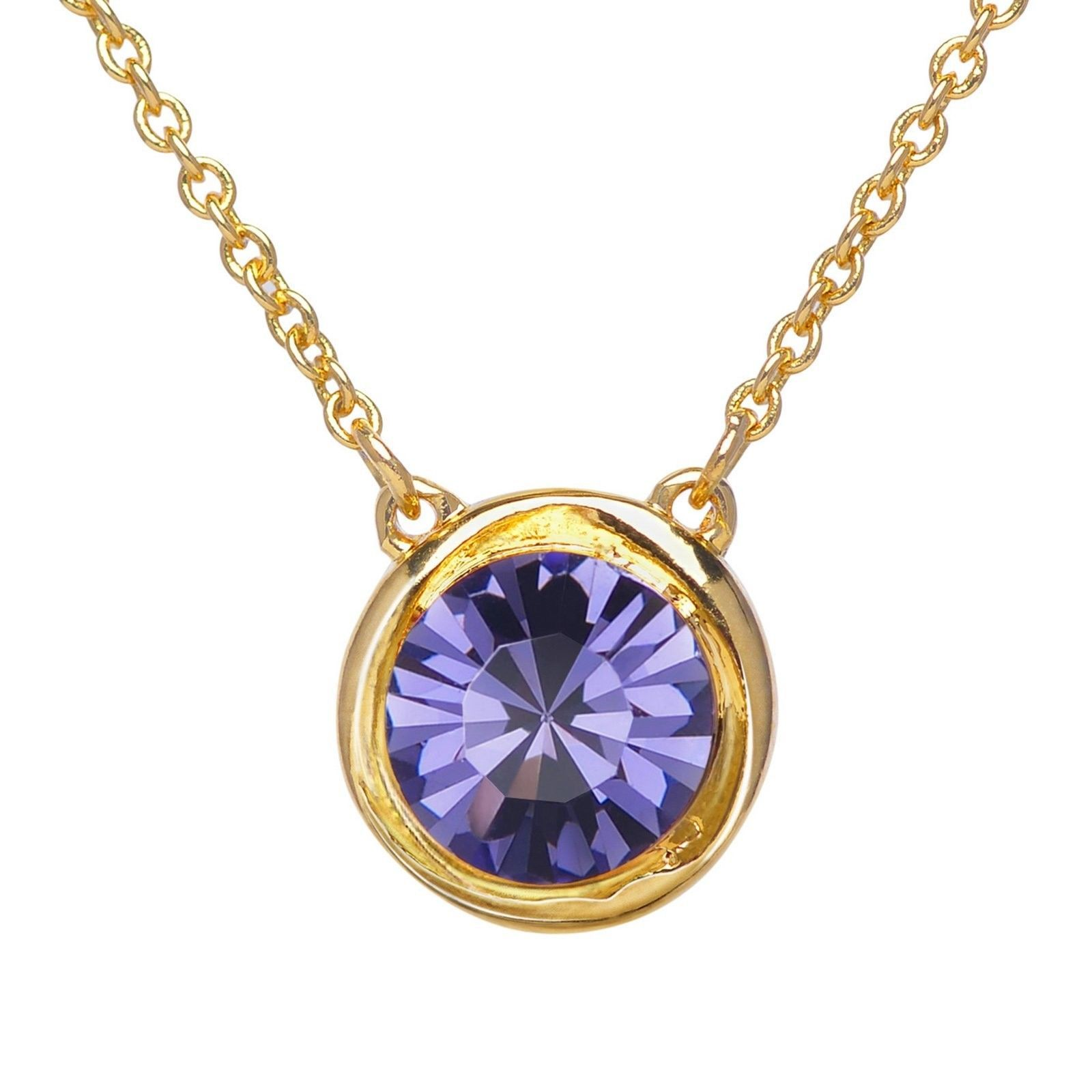 Round Crystal Birthstone Necklace - 18K Gold Plated Chain Jewel