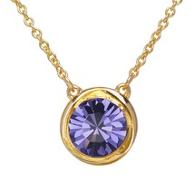 Round Crystal Birthstone Necklace - 18K Gold Plated Chain Jewel - $54.82