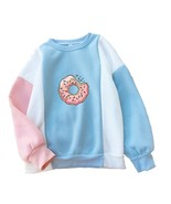 Women Sweatshirt Harajuku Kawaii Donuts Printing Cute Hoodies Patchwork ... - $23.20