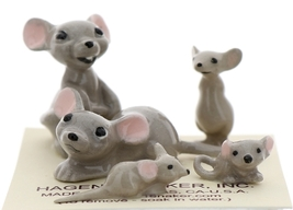 Hagen-Renaker Miniature Ceramic Mouse Figurine 5 Piece Family Set image 1