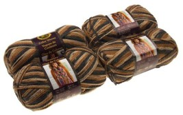 Lion Brand Yarns Color Waves Tigers Eye Brown Lot 4 Acrylic Wool Knit Cr... - $15.69