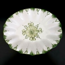 Alcobaca Portugal Fluted Dish Green & White Hand Painted Bowl  - $17.77