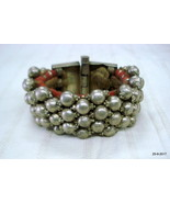 vintage antique tribal old silver bracelet bangle cuff beads bracelet - $427.68