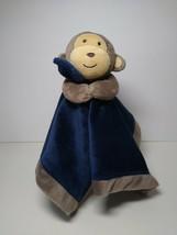 Carter's Baby Blanket Monkey Lovey Blue Satin Back Brown Child of Mine Lovey - $16.73