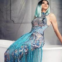 Womens Blue Sleeveless Tassel Sequin Dress Blue Sexy Jazz Singer Dancer Stage Co image 1