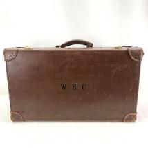Vtg All Leather Suitcase British Brass Hardware Decor Prop 30s Monogramm... - $94.95