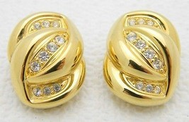 VTG Gold Tone Clear Pave Rhinestone Infinity Clip Earrings - $49.50
