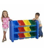 Kids Toys Organizer Colored 12 Bins 3 Tier Shelf Container Rack Holder S... - $79.70