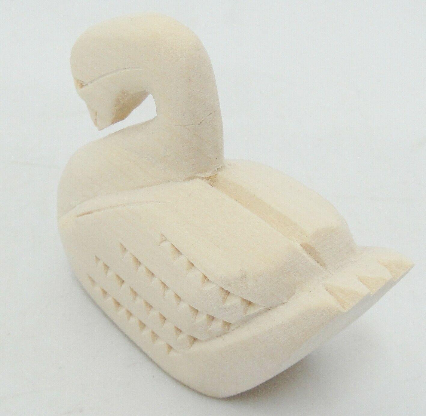 """Manuel Montoya Carved Swan Natural Wood 3"""" Long Signed Chip Carving image 3"""