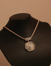Moonstone Rose Necklace Fashion Short Chain For Women and Girls Gift - $7.60
