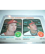 NOLAN RYAN/STEVE CARLTON 1973 TOPPS STRIKEOUT CARD#65 VG+-ANGELS/PHILLIES - $9.85