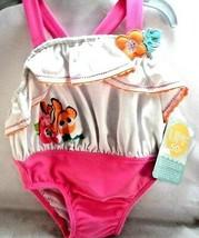 Disney 12-18 mo swimsuit Finding Nemo white ruffles Pink one piece Upf50... - $18.80