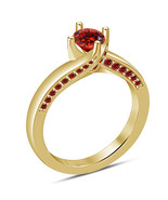 14k Yellow Gold Over 925 Sterling Solid Silver Red Garnet Womens Engagem... - $67.99