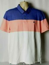 IZOD Advantage Polo Mens Short Sleeve Shirt Blue White Orange Color Bloc... - $19.79