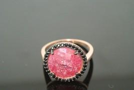 Turkish 3 Ct Pink Tourmaline Onyx 925 Silver Rose Gold Round Size 7.5 Ring - $55.43