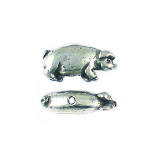 PIG FINE PEWTER BEAD - 17x9x5mm; Hole 1mm
