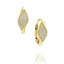 Gorgeous Stud Earrings Women Leaf 14k Solid Yellow Gold Natural Cubic Zi... - $158.11