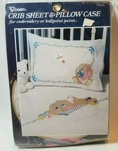 Vogart Baby Crib Sheet & Pillow Case Embroidery #75412 Bunny Rabbit Paint - $24.70