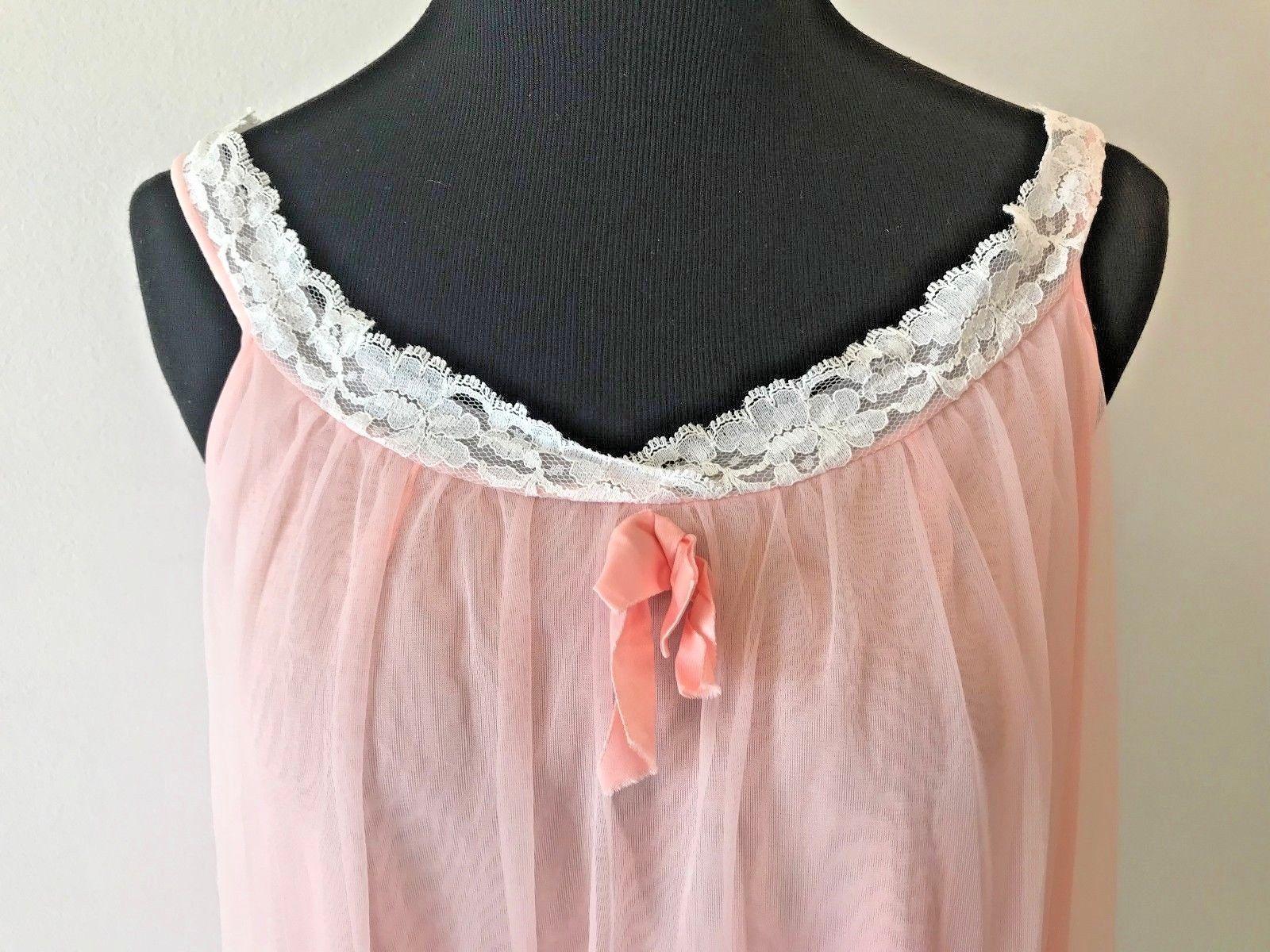Vintage 1960s Sears Peignoir Nightgown Robe Set Chiffon Pink size S M w  Flaw AC 4f0c7a3af