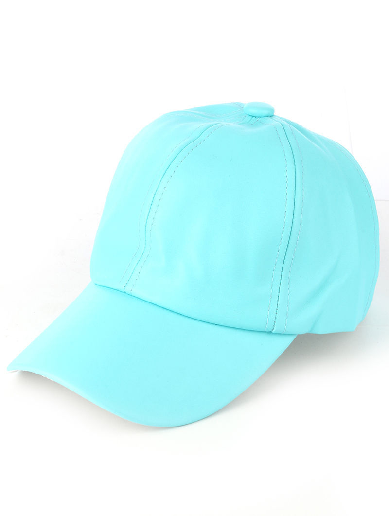 Solid Colored Baseball Cap Fashion Hat - Faux Leather Blue
